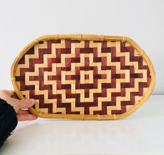 Vintage Woven Rattan Basket Tray Tribal Geometric Pattern Basket Wall Decor Boho Decor