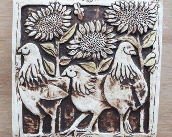 Chickens with sunflowers handmade ceramic tile in brown and light olive