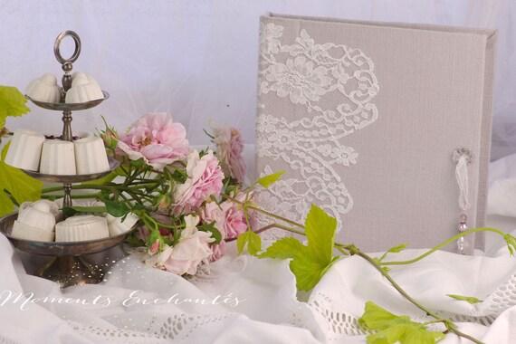 Saint Valentin Livre d'or mariage Baptême dentelle de Calais blanche