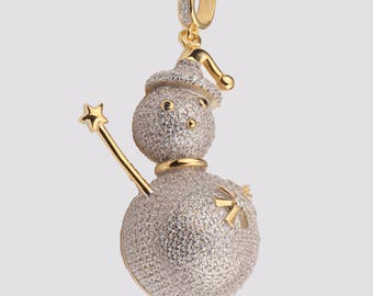 Snowman Pendant 14k Gold Plated on 925 Sterling Silver with AAA Cubic Zirconia