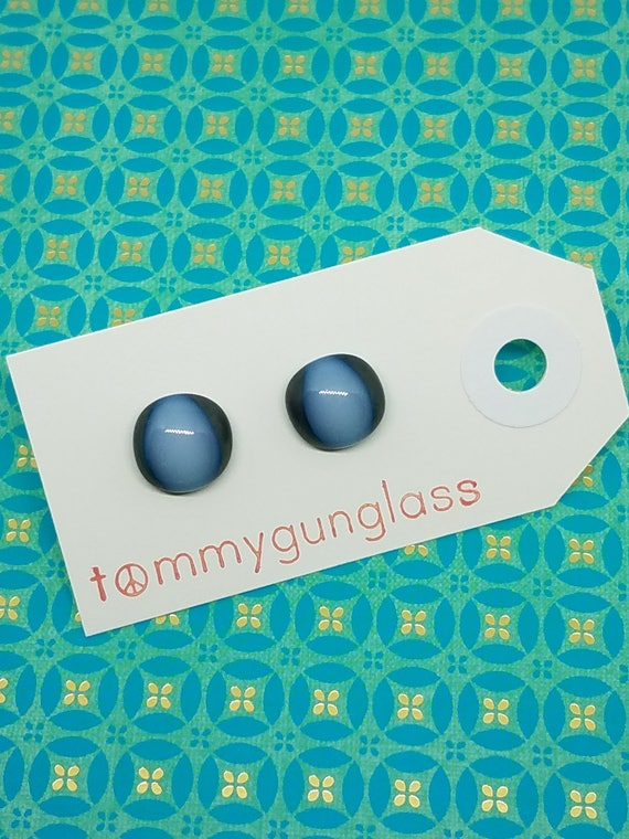 Steel and White Glass Stud Earrings
