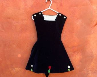 Vintage 1940s 1950s Navy Blue Velvet Swing Party Girl's Pinafore Dress. 3T 4T