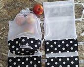 Sacs à fruits écologiques et lavables / Ensemble de 4 / Zero déchet / Vrac / Épicerie / Fruits bags / Set of 4 / Bulk / Zero waste /Grocery