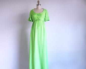 1/2 Off SALE Vintage Green Gown, 60s Empire Waist Dress, California Designer, Emma Domb Dress, Union Made in the USA