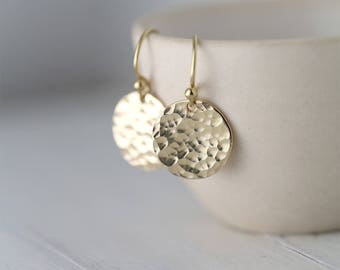 Hammered Gold Earrings Handmade, Summer Outdoors Gold Filled Handmade Jewelry, Gift for Women, Jewellery by Burnish