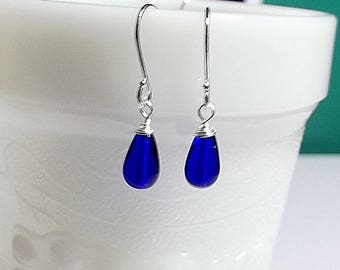 30% OFF SALE thru Mon Cobalt Blue Glass Earrings, Bridesmaid Mom Sister Grandmother Jewelry Gift, Mothers Day Gift, Small Pretty  Silver Ear