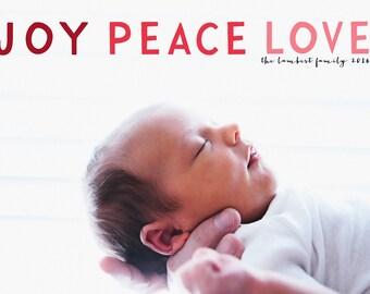 Joy Peace Love /ChistmasCard/ holiday card /Personalized Holiday Card/Photo Christmas Card