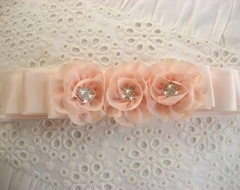 Sash Blush Flower Girl Sash and Blush Chiffon Blossoms Bridal Satin Sash Wedding Sash Bridal Sash