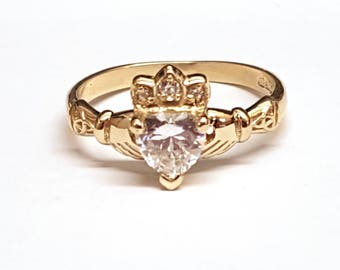Claddagh Ring with 6mm Birth Stone in 9ct gold