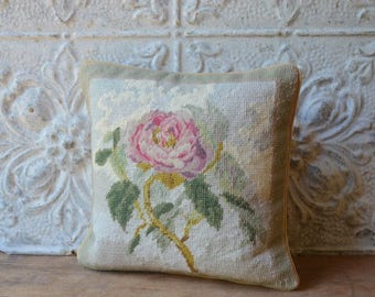 Gorgeous Floral Handmade Needlepoint Pillow