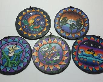 New Polymer Clay Fimo Sun Moon Stars Large Pendants 50mm 2 inches