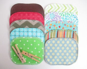 Reusable Cloth Wipes--Mini Size--Makeup Removal--Set of 10--Modern Mix--Ready to Ship