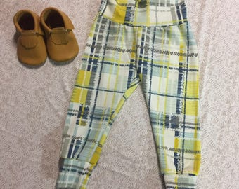 Navy Mustard Plaid Custom Leggings