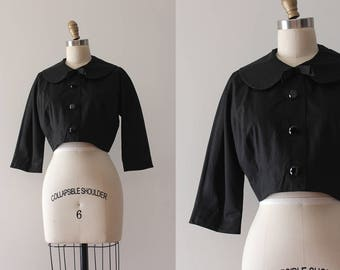 vintage 1950s jacket // 50s 60s black cropped jacket