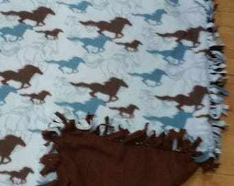 Horse Fleece 2 Layer Blanket or Throw