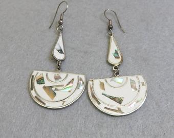 White Enamel and Abalone Shell Alpaca Pierced Earrings