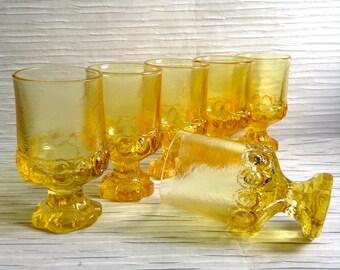 6 Tiffin Franciscan Madeira Glasses.  Cornsilk Yellow, Glass Water Goblets.  5.5 inch. Vintage Mid century modern, Danish Modern, Eames era.