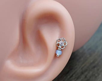 Pink Crystal Flower Silver Tragus Cartilage Helix Earring Piercing 16g