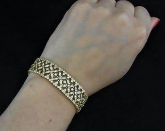 Estate 4.2 Carat 18k Yellow Gold Bracelet Wide Floral Flower Vintage LAYAWAY Available