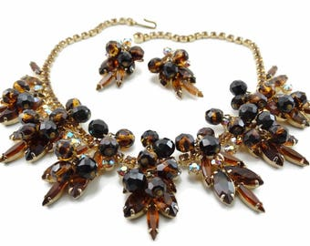 Vintage D&E JULIANA Topaz Tiger Stripe AB Rhinestone Bead Bib Necklace Demi-Parure Book Set!