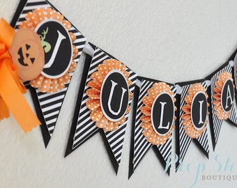 Halloween Pumpkin Patch Birthday Banner, Name Banner, Room Decor, Bunting, Special Occasion