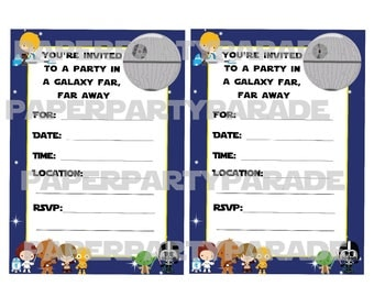 DIY Star Wars Party Invitation - INSTANT DOWNLOAD, digital file, printable, print at home, birthday party, baby shower, Princess Leia, Yoda