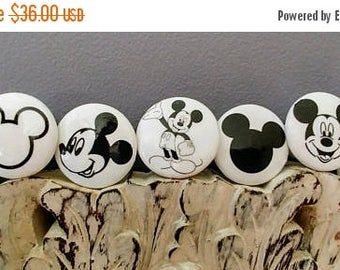 SUMMER SALE Dresser drawer knobs Mickey Mouse inspired  wooden Knobs hand decorated (sublimated images) 1 1/2 inches set of 6 Mickey Mouse s