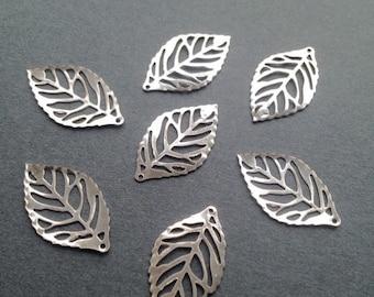 ON SALE 20 x Antiqued Silver Leaves Vintage Filigree Silver Thin Leaf Pendants 23.5x14mm Earring Leaf Charms Leaf Bracelet Pendants