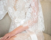 Swan Queen silk and lace robe kimono ivory nude - style 104SH