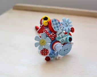 New Baby Boy Button Bouquet Gift