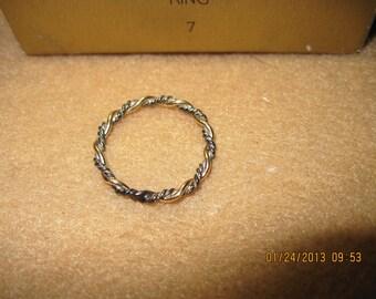 20% OFF!!!! BEAUTIFUL Vintage Precious Braid 14 KGF & Sterling Silver Ring...sz 7...1978 ...still in original box.....#474