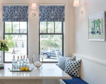 Faux Roman Shade Lined  Mock  Valance  Blue/ White  Swavelle/Mill Creek Dalusio Damask Denim/ Custom Sizing Available!