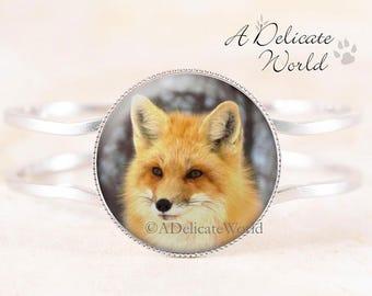Fox Bracelet - Red Fox Wildlife Jewelry, Silver Bangle, Animal Bracelet