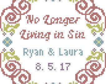 Subversive wedding cross stitch pattern/no longer living in sin cross stitch pattern/no longer living in sin/modern wedding cross stitch
