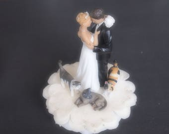 Wedding Cake Topper Ivory Bride Groom Three Cats Gray Calico and Gray and White