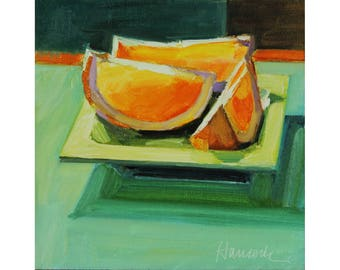 Orange Slices and Green Plate