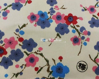 Plum blossom, ivory, 1/2 yard, pure cotton fabric
