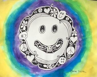 happy face joy art painting
