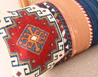 "Decor PILLOW CASE made with vintage Kilim and Velour 28""x11"" 71x28cm"