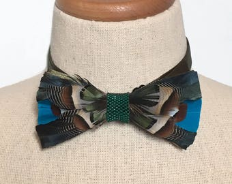Real Feather Bow Tie