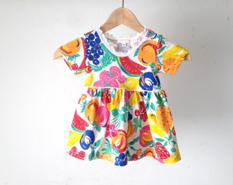 kids BOHEMIAN vintage FRUIT print all over yellow kid's dress