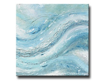 "ORIGINAL Large Art Blue Abstract Painting TEXTURED Wall Art Acrylic Painting Home Decor Coastal Wall Decor Blue White LARGE 40x40"" Christine"