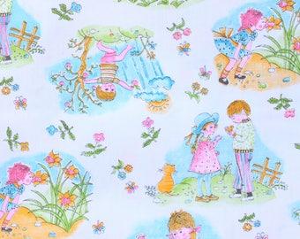 1960's Sweet Summertime Children's Thin Cotton Fabric with Garden Play Picture Panels . Orange Kitty Cat Kitten Boy Girl Best Friends