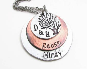 Family Tree Necklace - Personalized Necklace - Mom Necklace - Hand Stamped Jewelry - Mixed Metal Necklace - Personalized Tree Of Life