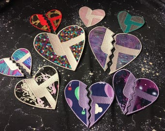Disco Biscuits CUSTOMIZED plain Heart or Best friends heart Iron On Patch