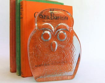 Pair of Vintage Glass Owl Bookends by Blenko - Very Heavy, Joel Myers, Mid Century Modern, Clear, Shelf Decor, Thick Glass