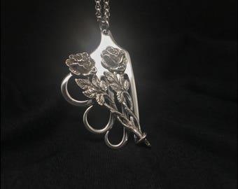 Sterling Roses Antique Fork Pendant Necklace.