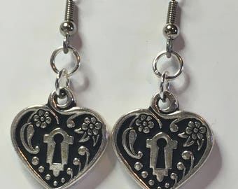 Ornate Locked Heart Earrings - Retro, Classic, Silver, Pinup, Steampunk, Adventure, Gothic, Great Gift!
