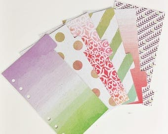 Personal Sized Laminated Dividers For Filofax Kate Spade Agenda Kikki-k Planner Purple Green Pink Red Watercolor Ombre Damask Dots Stripes