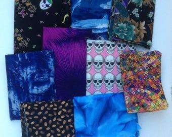 Fabric lot, OOP designs odd sizes Alexander Henry skulls, Mardi Gras, sharks, Oriental fans, coffee beans